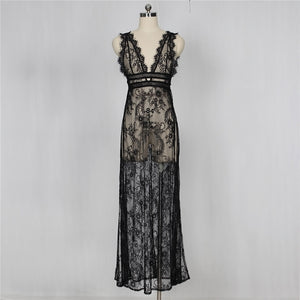 Women's Deep V Neck Sexy Lace See Through High Slit Long Maxi Lingerie