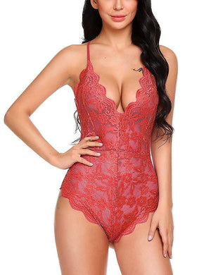 Women Sexy Lingerie Teddy One Piece Lace Halter Babydoll Bodysuit Through Floral Backless