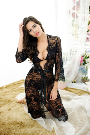 Sexy Lace Erotic Lingerie Transparent Nightgowns Full Lace Transparent Robe Set + Bra Panty