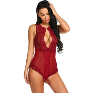 Club Dresses | Club Outfits | Party Dresses Crotchless Sleepwear Sexy Lingerie, Hot Erotic Lace Teddy One Piece Bodysuit Nightwear - Clubbing Love
