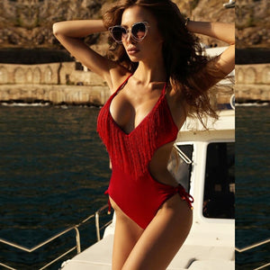 Sexy Bikini Women Swimsuit Bodysuits Tassel Lace Up Bandage  Swimsuits Sexy Gold and Black Swimwear