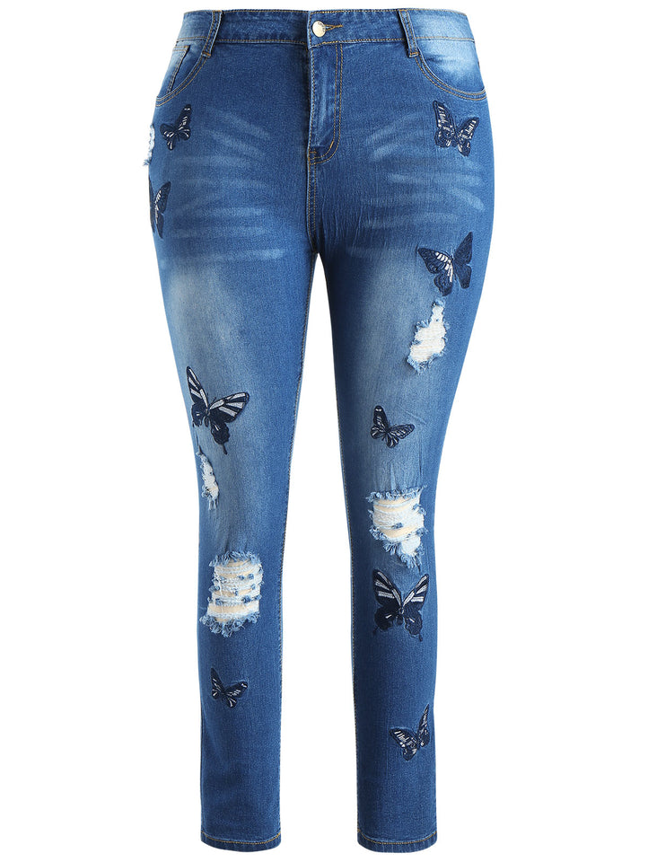 Club Dresses | Club Outfits | Party Dresses Plus Size, Plus Size  Embroidered Jeans Butterfly Distressed Women Pant Skinny High Waist Pencil Pants Denim Jean Ladies Trousers - Clubbing Love