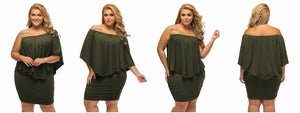 Club Dresses | Club Outfits | Party Dresses Plus Size, Women's Sexy Off Shoulder Ruffles Multiple Dressing Layered Plus Size Mini Dress - Clubbing Love