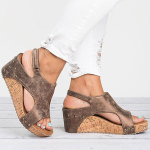 Women Sandals Platform Sandals Wedges Shoes Women Heels Sandalias Mujer Summer Shoes Leather Wedge Heels Sandals