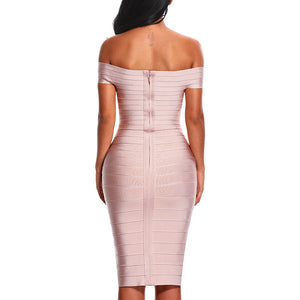 Off Shoulder Women Bandage Dress Knee Length Bodycon Party Dress