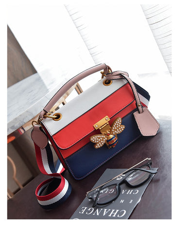 Image of Luxury Bee Shoulder Bag Colorful Splicing Little Bee Handbag
