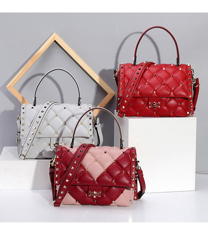 Image of Women's Designer Rivet Quilted Style Sheepskin Totes For Ladies Shoulder Bags Genuine Leather Luxury Handbags