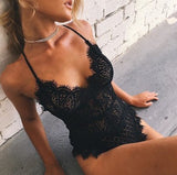 Club Dresses | Club Outfits | Party Dresses Bodysuit, Women Sexy Lace Bodysuit Sexy V Neck Women Solid New Lace One-piece Set Summer Backless Bodysuit - Clubbing Love