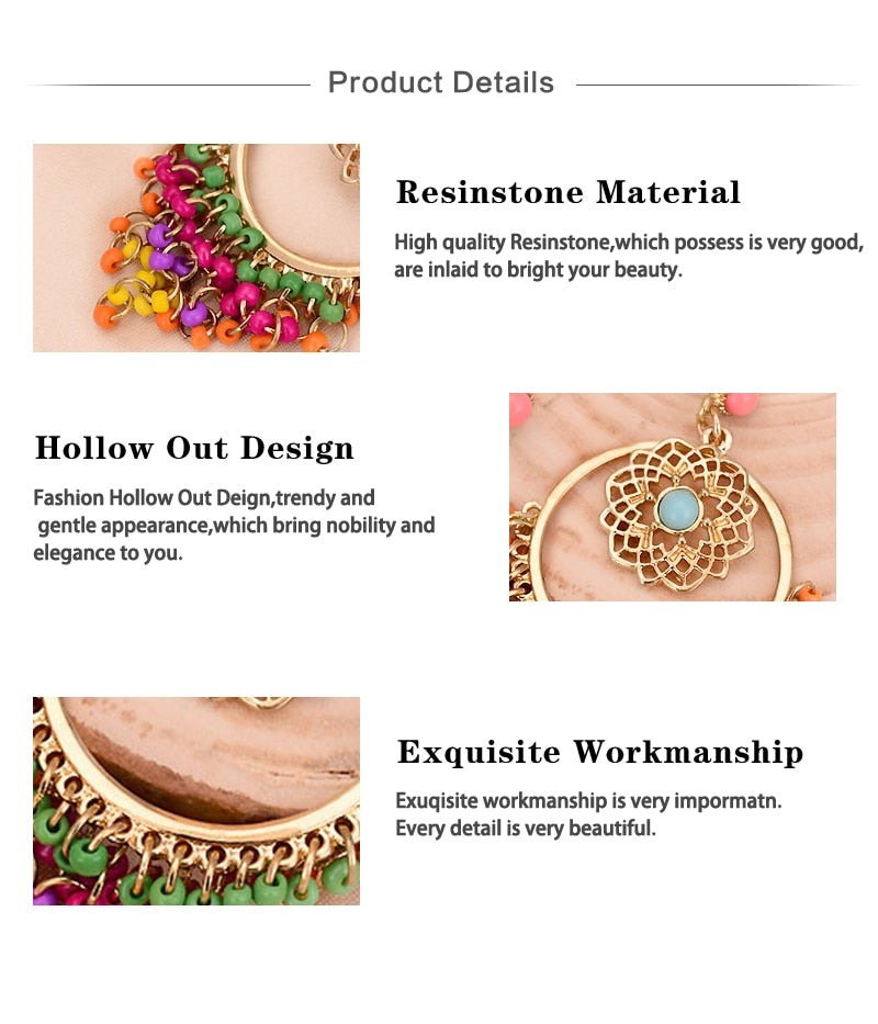 Club Dresses | Club Outfits | Party Dresses Under $9.99, Big Statement Earrings for Women Gold Color Alloy Colorful Rhinestone Drop Earrings - Clubbing Love