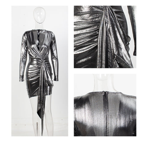 Image of Sexy Deep V-Neck Pleated Ribbon Slit Mini Sparkling Fabric Bodycon Clubbing Partywear Reflective Dress