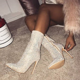 Club Dresses | Club Outfits | Party Dresses shoes, Women Ankle Boots Rhinestones High Heels Zip Pointed Toe Sexy Shoes - Clubbing Love