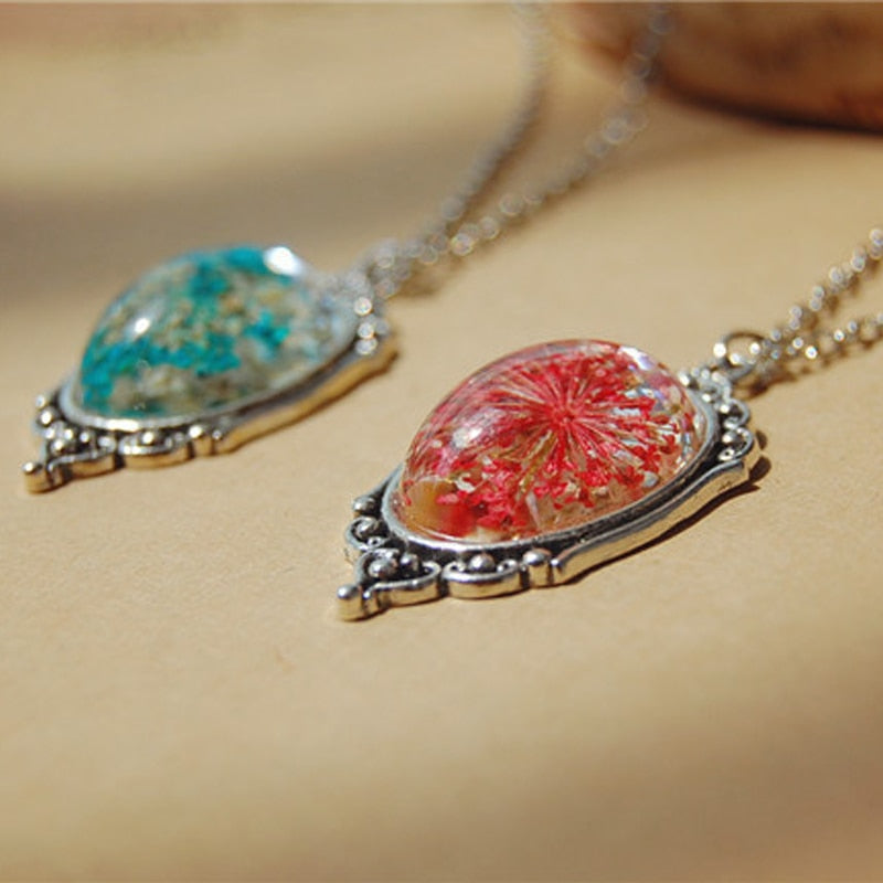 Natural Dried Flower Small Pure and Fresh Pendant Necklace 1Pcs Vintage