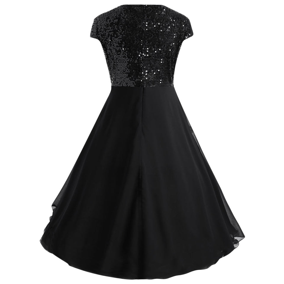 Club Dresses | Club Outfits | Party Dresses plus size, Women Plus Size Flounce  Sequin Sparkly Cocktail Party Dress Women O Neck Cap Sleeve Midi Dress Vestidos Ladies Dresses Clothes - Clubbing Love