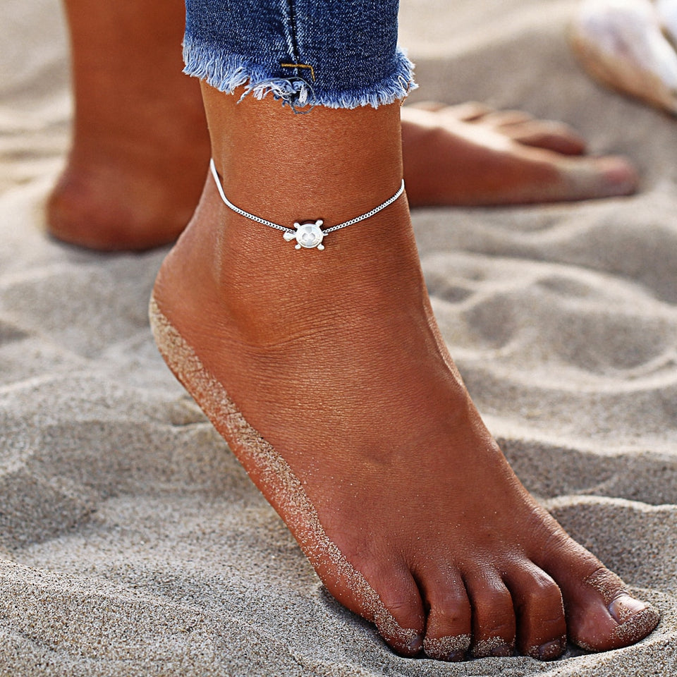 Freshwater Pearls Dragonfly Anklet and Vintage Sea Turtle Anklet
