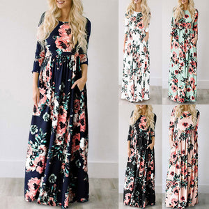 Club Dresses | Club Outfits | Party Dresses Dress, Summer Long Dress Floral Print Boho Beach Dress - Clubbing Love
