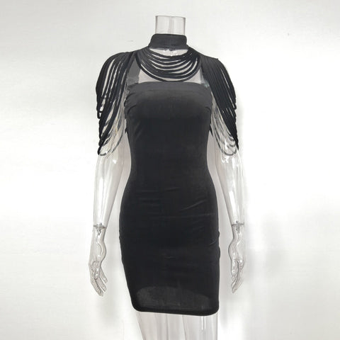 Image of Sexy Bandage Removable Collar Stretch Strapless Velvet Body con Mini Dress Partywear Clubwear