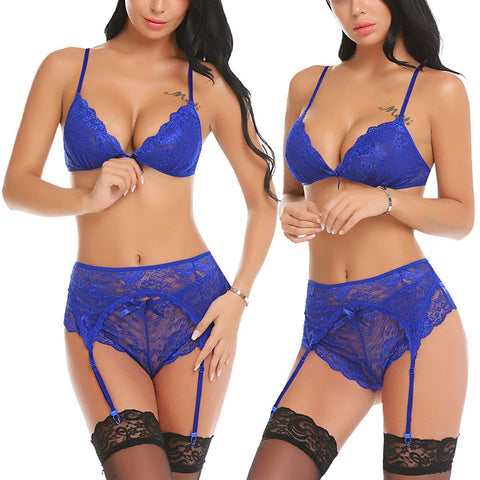 Image of Women's 3PCS Lace Sexy Lingerie Straps Bra and Panty Garter Set Underwear Babydoll Bodysuit Nightwear
