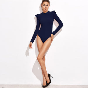 Club Dresses | Club Outfits | Party Dresses bodysuit, Women Bodysuits Navy Mock Neck Textured Ruffle Long Sleeve Skinny Sexy Basic Lady Bodysuit - Clubbing Love