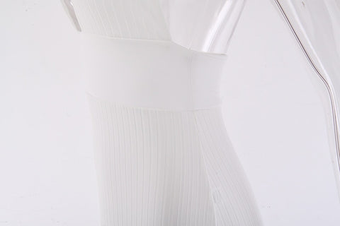 White Off Shoulder Long Bodycon Party Bandage Dress Backless Sexy Knitted Pencil Dress