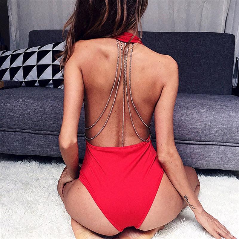 Club Dresses | Club Outfits | Party Dresses bodysuit, Women Clubwear Bodysuit Backless with Solid Rhinestone Chain - Clubbing Love