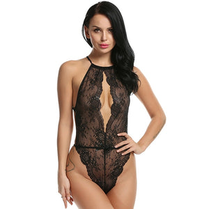 Lingerie for Women Teddy One Piece Lace Babydoll Bodysuit Floral Lace Leather Lingerie Sexy Teddies