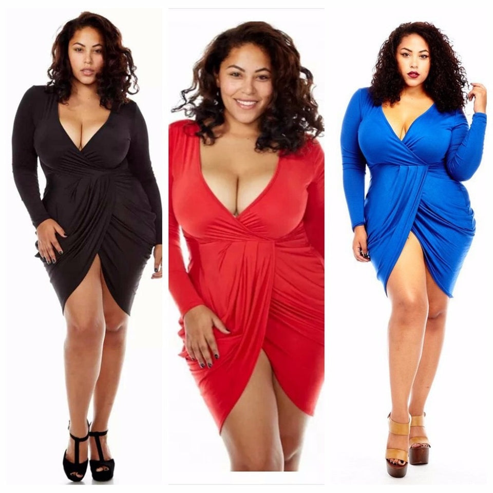 Club Dresses | Club Outfits | Party Dresses plus size, Womens Plus Size Deep V Neck Bodycon Wrap Dress with Front Slit - Clubbing Love