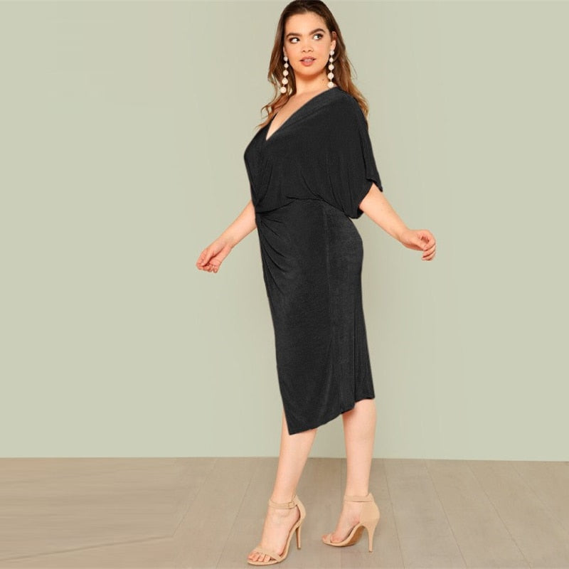 Club Dresses | Club Outfits | Party Dresses Plus Size, Women's Plus Size Black Twist Front Slit Batwing Dress Party Dress Vintage Elegant Summer Dresses - Clubbing Love