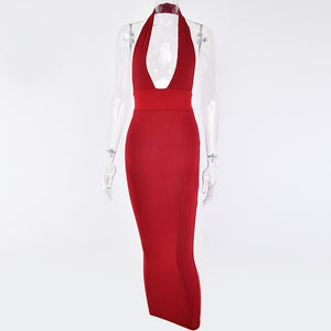 Club Dresses | Club Outfits | Party Dresses Backless Sexy Knitted Pencil Dress, Off Shoulder Long Bodycon Party Bandage Dress - Clubbing Love