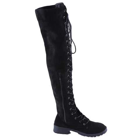 Sexy Lace Women's Chunky Heel Lace up Over-The-Knee High Riding Boots