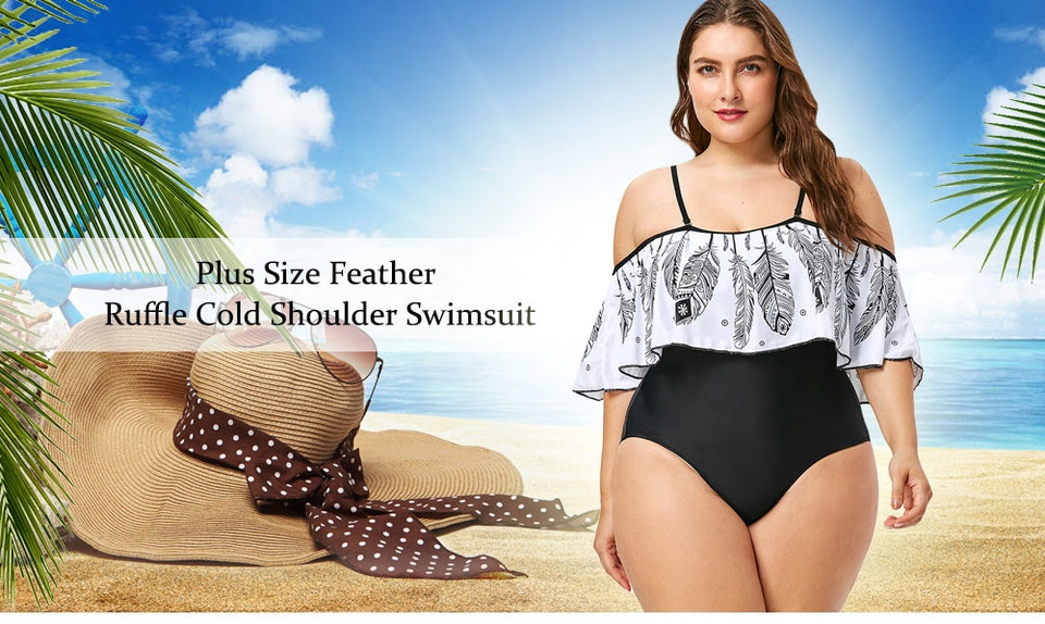 Club Dresses | Club Outfits | Party Dresses Plus Size, Women's Plus Size Swimwear One Piece High Waisted Swimsuits Off Shoulder Sexy Beach Dresses Printed Bathing Suits - Clubbing Love