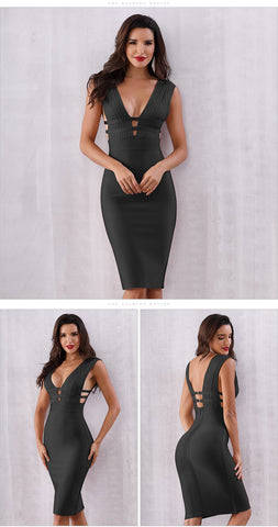Image of Women Bandage Dress Vestidos Verano New Tank Sexy Deep V-Neck Sleeveless Bodycon Club Celebrity Party Dresses