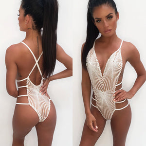 Women Sexy Swimsuit Sequins Strappy Backless Push Up Ladies Bikini Swimwear Bathing One Piece Monokini
