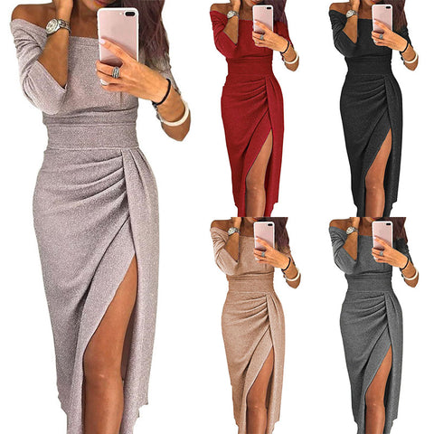Image of Sexy Dress Off Shoulder Solid High Split - Club Dresses | Party Dresses | Club Outfits. Club Dresses from ClubbingLove.com