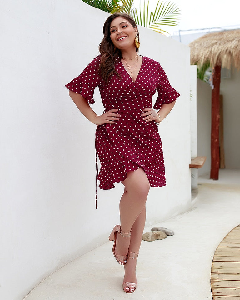 Club Dresses | Club Outfits | Party Dresses Plus Size, Womens Black Polka Dot Ruffle Stretch Off The shoulder Plus Size Midi Party Dress - Clubbing Love