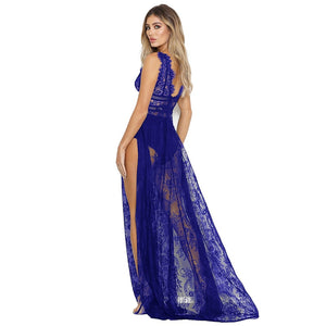 Club Dresses | Club Outfits | Party Dresses Women's Deep V Neck Sexy Lace See Through High Slit Long Maxi Lingerie, Women's Deep V Neck Sexy Lace See Through High Slit Long Maxi Lingerie - Clubbing Love