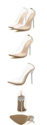 Transparent Pointed Toe Slip On Stiletto High Heel Pump Shoes Clubwear Partywear