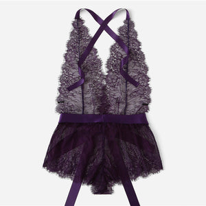 Club Dresses | Club Outfits | Party Dresses lingerie, Women Sexy Lingerie Purple Eyelash Lace Criss Cross Back Ribbon Bow Knot Waist Teddy Romper Bodysuit Sexy Teddies Lace Women Onesies Sleepwear - Clubbing Love