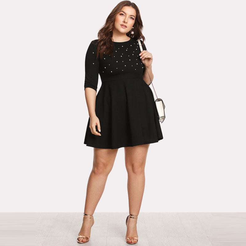 Club Dresses | Club Outfits | Party Dresses Plus Size, Women's Plus Size Black Round Neck Spring Dress Pearl Beading Fit & Flare Large Sizes Casual Long Sleeve Elegant Dress - Clubbing Love