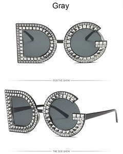 Women Crystal Oversize D G Diamond Round Sunglasses