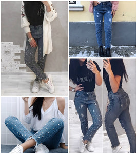 Club Dresses | Club Outfits | Party Dresses Jeans, Women  Pearl tassels blue high waist jeans Vintage high waist pearls beads ripped Jeans - Clubbing Love