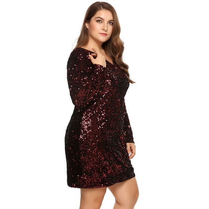 Club Dresses | Club Outfits | Party Dresses Plus Size, Women's  Plus Size Glitter Dress Sexy Deep V-Neck Long Sleeve Sequined Bodycon Cocktail Club Sheath Loose Ladies Dresses - Clubbing Love