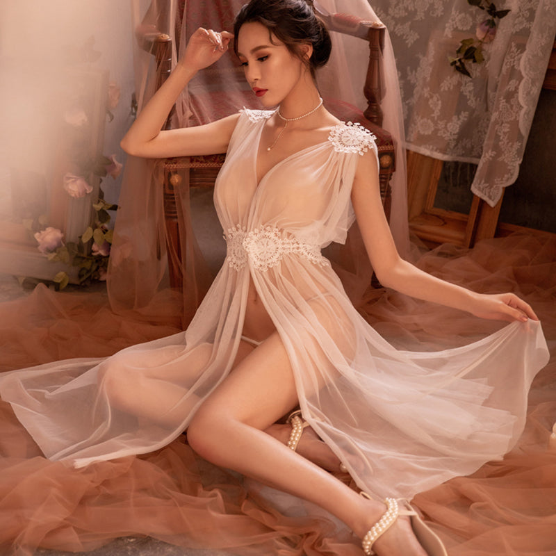 Club Dresses | Club Outfits | Party Dresses Lingerie, Sexy Lingerie Net Gauze Lace Embroidery Sheer Long Night Dress Nightgowns Women Nightwear - Clubbing Love