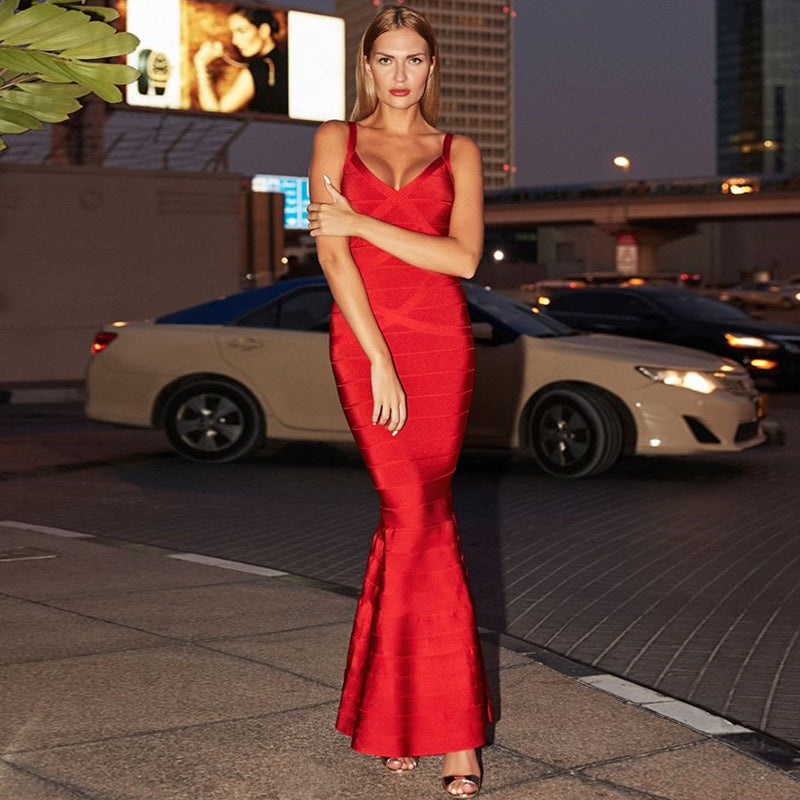 Club Dresses | Club Outfits | Party Dresses Dress, Women's V-Neck Backless Fishtail Bandage Formal Evening Dresses Long - Clubbing Love