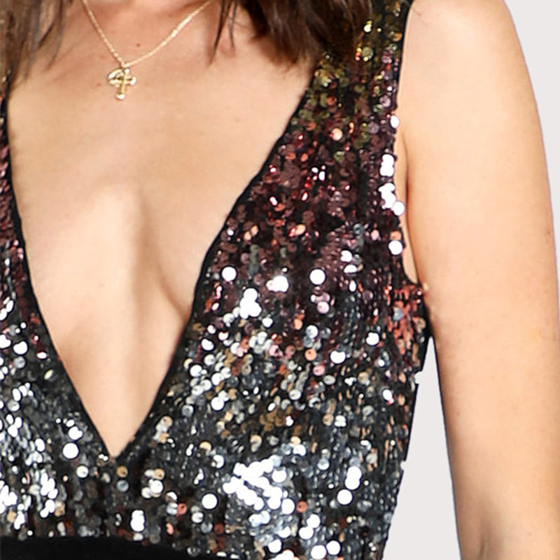 Club Dresses | Club Outfits | Party Dresses bodysuit, Clubwear Women Bodysuit Contrast Sequin Plunging Deep V Neck Sleeveless Mid Waist Sheer Clubwear Partywear - Clubbing Love
