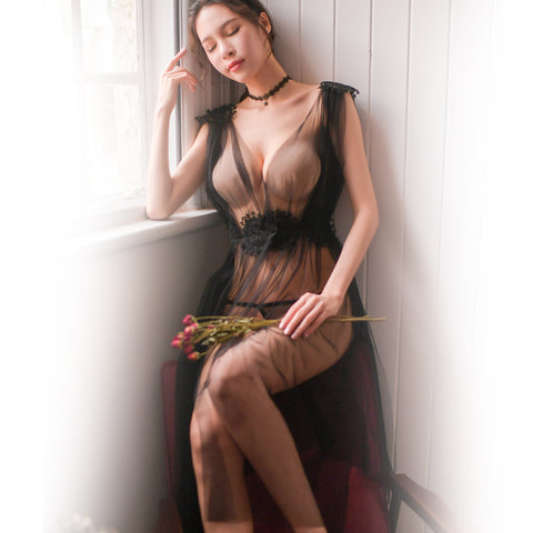 Image of Sexy Lingerie Net Gauze Lace Embroidery Sheer Long Night Dress Nightgowns Women Nightwear