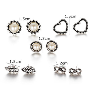 Club Dresses | Club Outfits | Party Dresses Under $9.99, 4 Pairs Assorted Boho Stud Earrings Set Vintage Round Beads Earring for Women and Girls - Clubbing Love