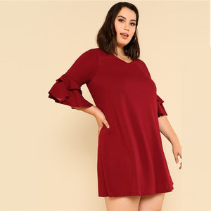 Club Dresses | Club Outfits | Party Dresses plus size, Women Plus Size Burgundy Ruffle Sleeve Elegant Shift Dress V Neck Solid Swing Mini Dress - Clubbing Love