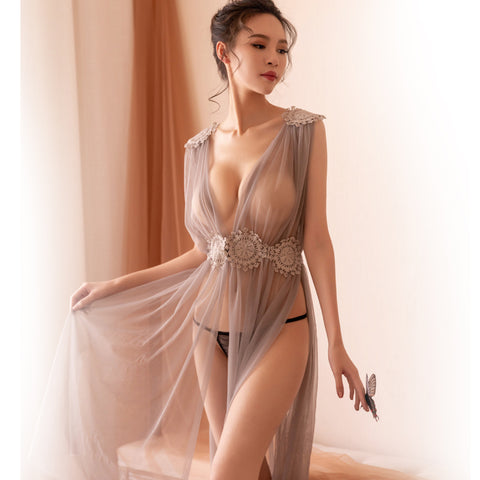 Sexy Lingerie Net Gauze Lace Embroidery Sheer Long Night Dress Nightgowns Women Nightwear
