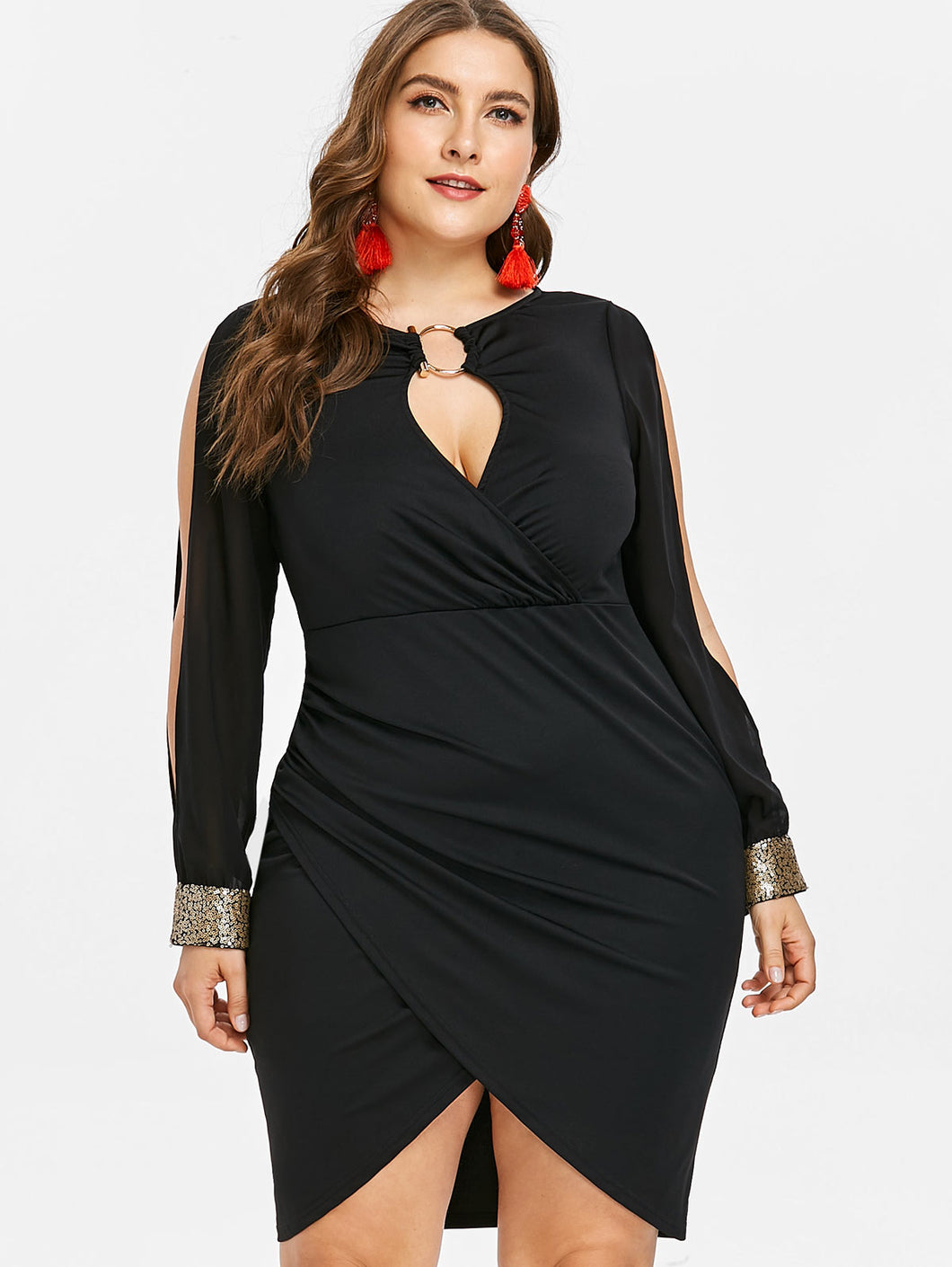 Club Dresses | Club Outfits | Party Dresses plus size, Women's Plus Size Club Party Wear Sequined Slim Dress, Fashion Long Sleeve Keyhole Neck Ring Slit Bodycon - Clubbing Love
