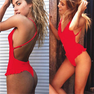 Women One Piece High Neck V-Neckline Mesh Ruched Monokini Swimwear String Lace Embroidery